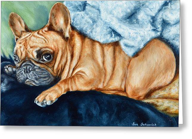 Custom Commissioned Pet Portrait From Photos Greeting Cards - French Bulldog I am cute but leave me alone look Greeting Card by Sun Sohovich
