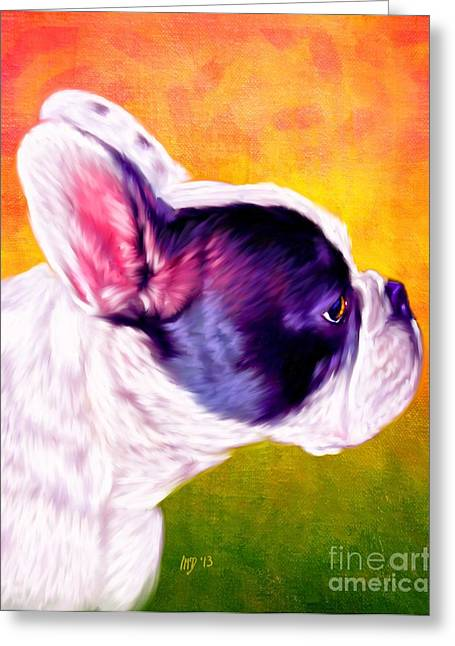 Bulldog Puppies Pictures Greeting Cards - French Bulldog Greeting Card by Iain McDonald