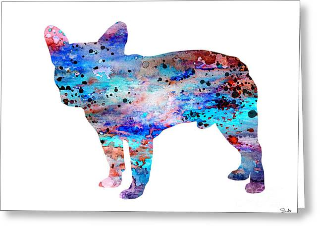 Bulldog Paintings Greeting Cards - French Bulldog Greeting Card by Lyubomir Kanelov