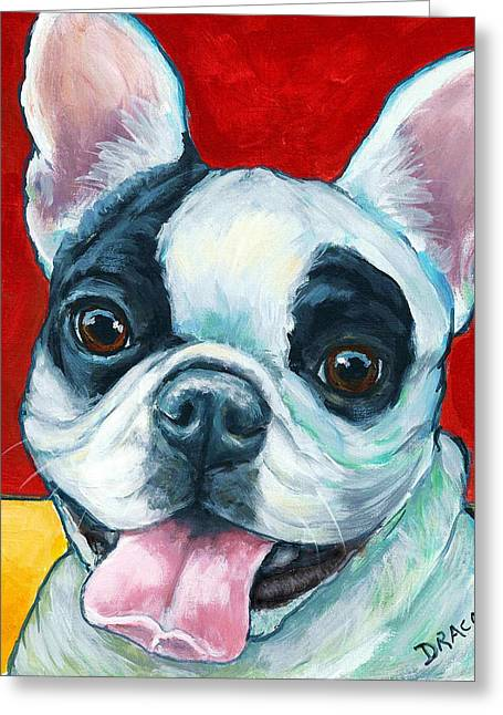 Bully Paintings Greeting Cards - French Bulldog on Red Greeting Card by Dottie Dracos