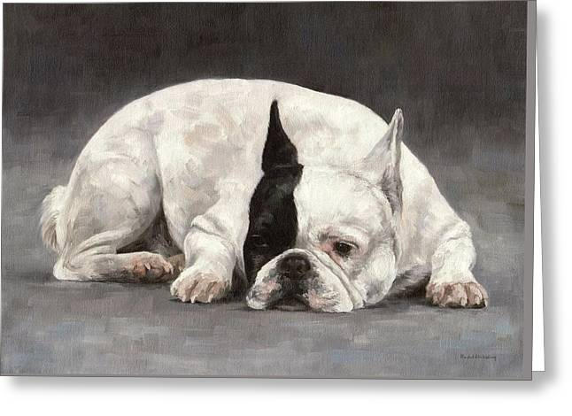 Domestic Pets Greeting Cards - French Bulldog Painting Greeting Card by Rachel Stribbling