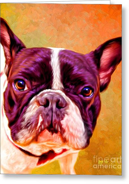 Bulldog Puppies Pictures Greeting Cards - French Bulldog Pet Art Greeting Card by Iain McDonald