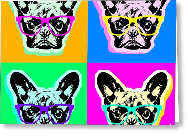 Recently Sold -  - Puppies Digital Greeting Cards - French Bulldog Pop Art Greeting Card by Steve Will