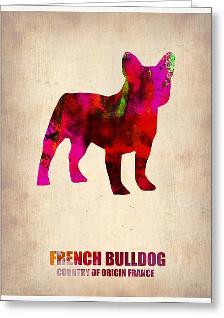 Pet Greeting Cards - French Bulldog Poster Greeting Card by Naxart Studio