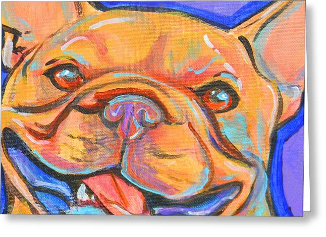 Jenn Cunningham Greeting Cards - French bulldog smile Greeting Card by Jenn Cunningham