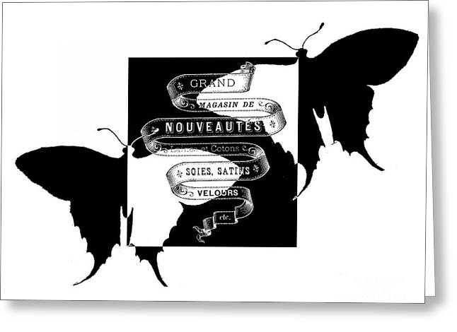 Typography Greeting Cards - French Butterflies 2 Greeting Card by Marion De Lauzun