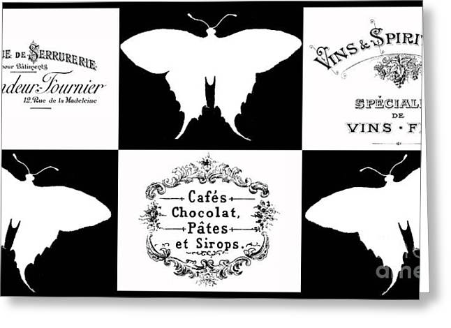 Typography Greeting Cards - French Butterflies 3 Greeting Card by Marion De Lauzun