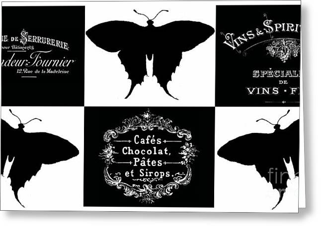 Typographic Greeting Cards - French Butterflies 4 Greeting Card by Marion De Lauzun