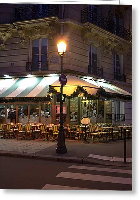 Christmas Blocks Greeting Cards - French Cafe Greeting Card by Art Block Collections