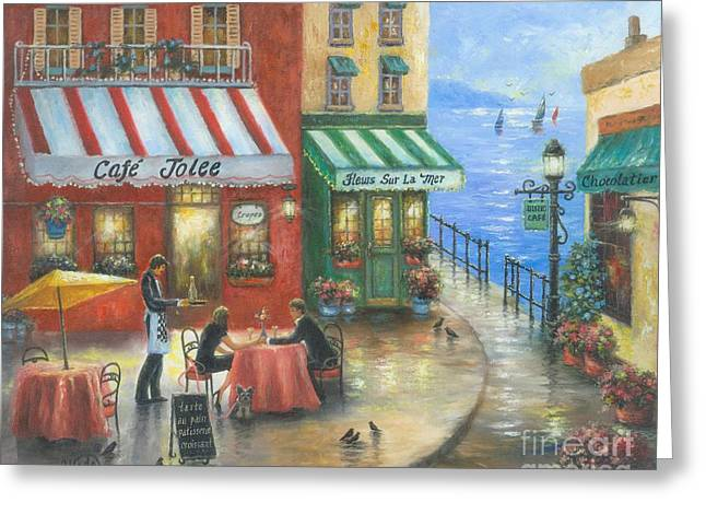 Vickie Wade Paintings Greeting Cards - French Cafe By the Sea Greeting Card by Vickie Wade