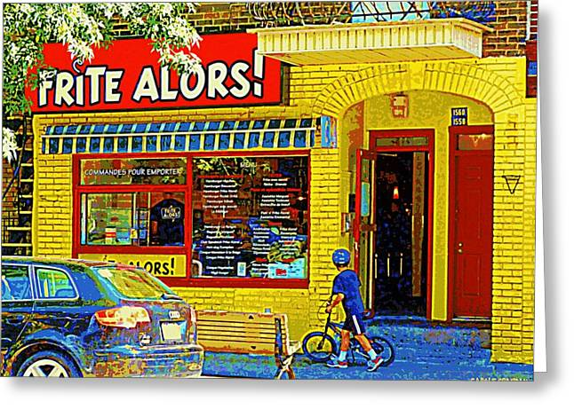 French Fries Paintings Greeting Cards - French Cafe Frite Alors Sandwich And Fries Shop Rue Laurier Montreal City Scene Art Carole Spandau Greeting Card by Carole Spandau