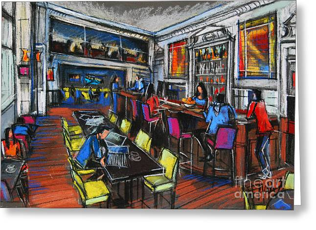 Colorful Pastels Greeting Cards - French Cafe Interior Greeting Card by Mona Edulesco