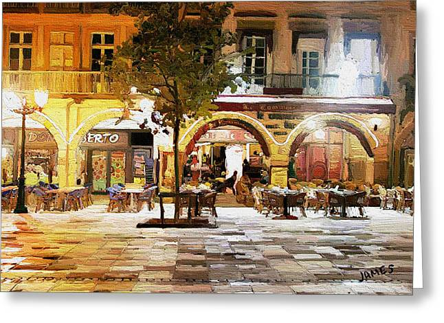 Night Cafe Digital Art Greeting Cards - French cafe Greeting Card by James Shepherd
