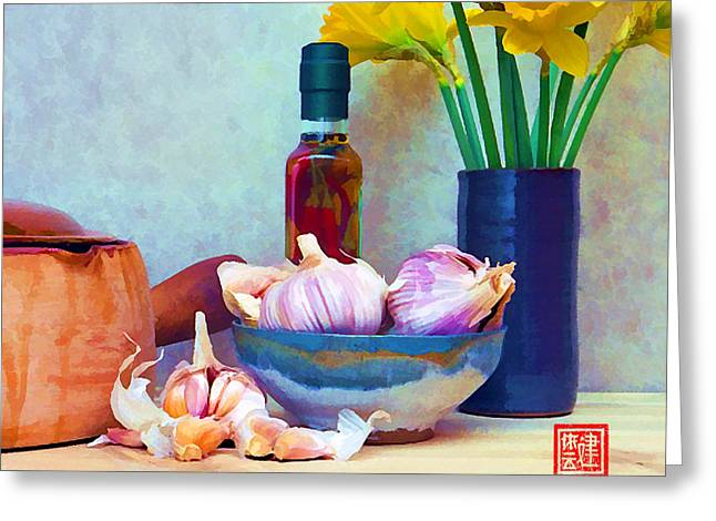 Vinegar Digital Greeting Cards - French Casserole and Daffodils III Greeting Card by Ken Evans