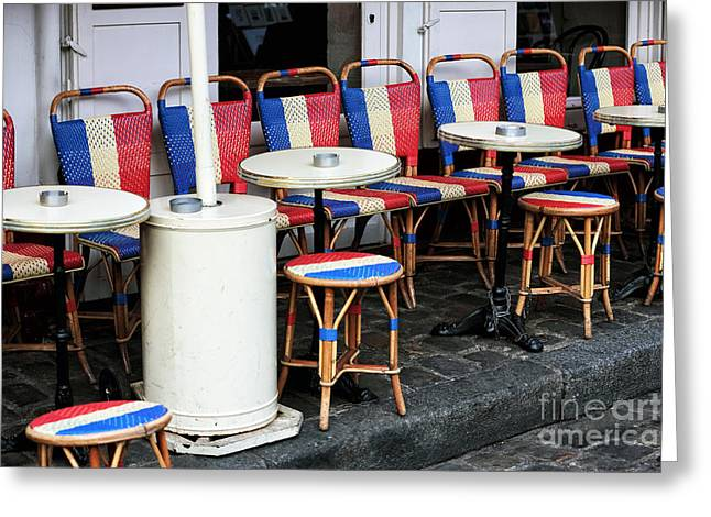 Red White And Blue Prints Greeting Cards - French Chairs in Montmartre Greeting Card by John Rizzuto