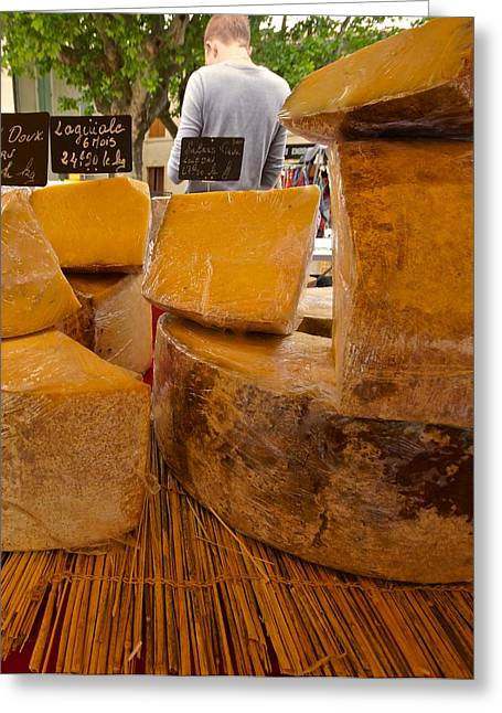 Local Food Greeting Cards - French Cheese in Market Greeting Card by Blair Seitz
