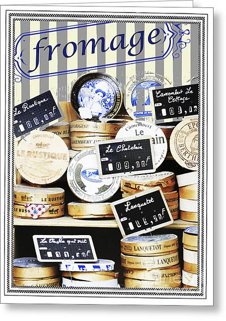 Advertising Mixed Media Greeting Cards - French Cheese Shop Greeting Card by AdSpice Studios