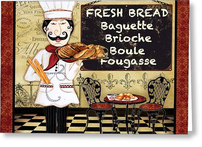 Chef Hat Greeting Cards - French Chef-A Greeting Card by Jean Plout