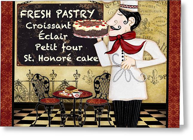 Chef Hat Greeting Cards - French Chef-B Greeting Card by Jean Plout