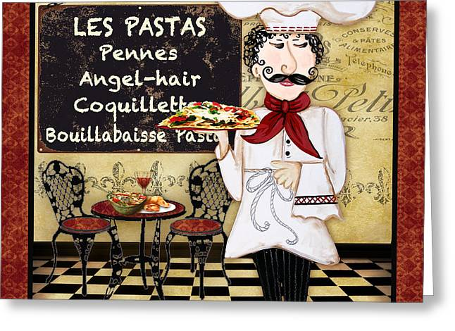Chef Hat Greeting Cards - French Chef-C Greeting Card by Jean Plout