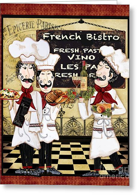 Chef Hat Greeting Cards - French Chefs-Bistro Greeting Card by Jean Plout
