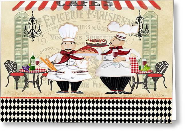 Chef Hat Greeting Cards - French Chefs-JP2250 Greeting Card by Jean Plout