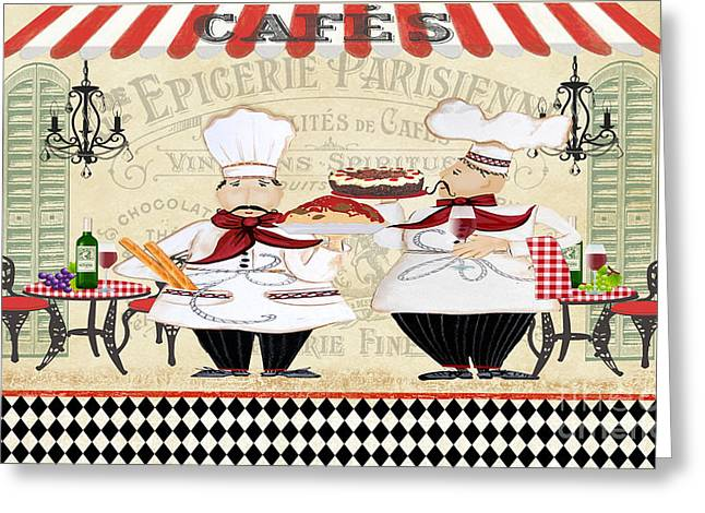 Chef Hat Greeting Cards - French Chefs-JP2250B Greeting Card by Jean Plout