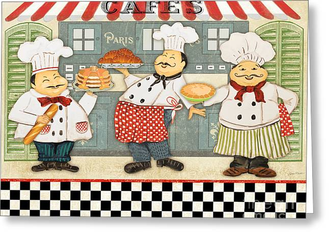 Chef Hat Greeting Cards - French Chefs-JP2280 Greeting Card by Jean Plout