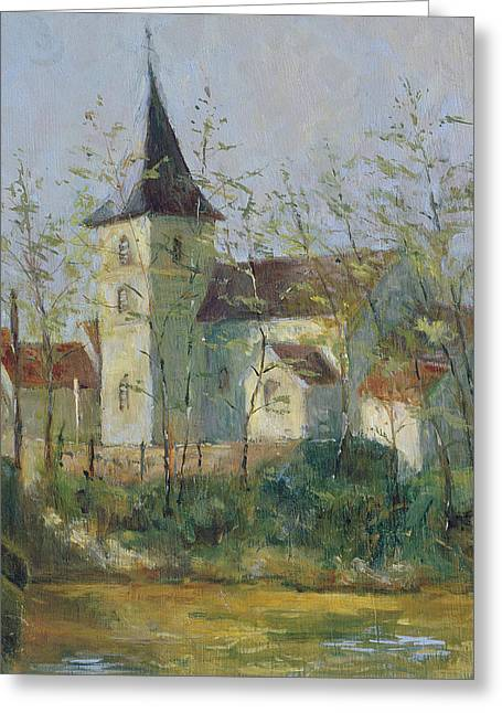 Rural Landscapes Greeting Cards - French Church Oil On Canvas Greeting Card by Karen Armitage
