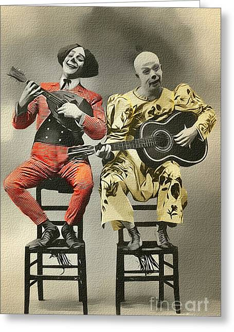 Nostalgic Greeting Cards - French Clown Musicians Vintage Art Reproduction Tint Greeting Card by Lesa Fine