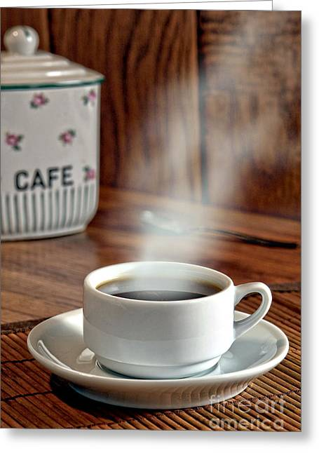 Steaming Greeting Cards - French Coffee Greeting Card by Olivier Le Queinec