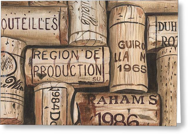 Red Wine Greeting Cards - French Corks Greeting Card by Debbie DeWitt