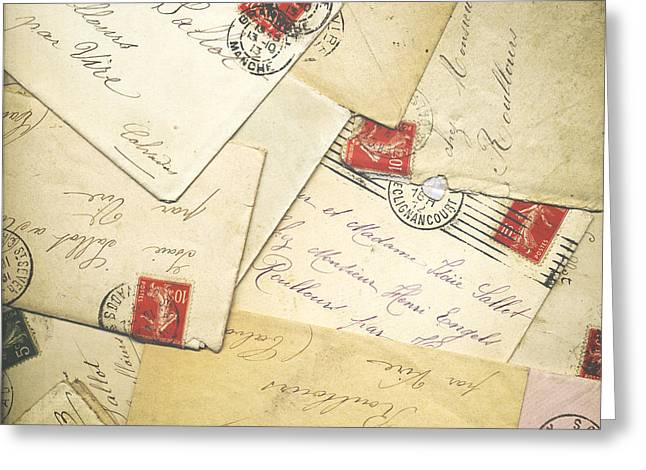 Love Letter Photographs Greeting Cards - French Correspondence from WW1 #1 Greeting Card by Jan Bickerton