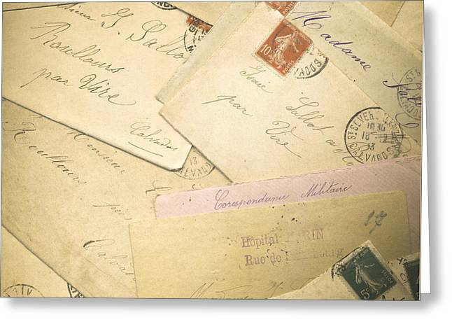 Love Letter Photographs Greeting Cards - French Correspondence from WW1 #2 Greeting Card by Jan Bickerton