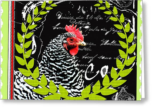 Luncheonettes Greeting Cards - French Country Rooster Print Greeting Card by ArtyZen Studios - ArtyZen Home