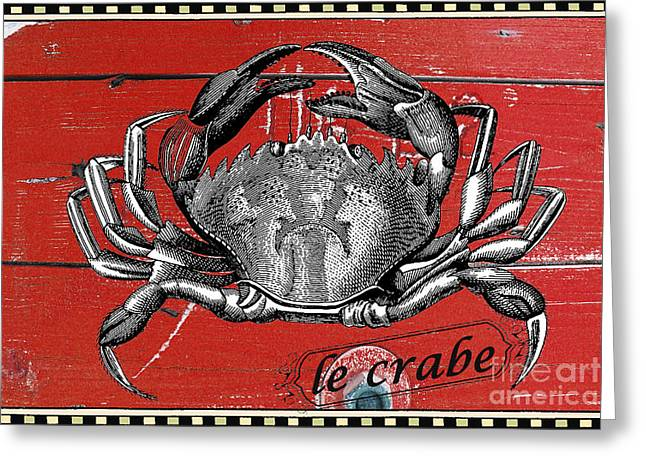 Decorative Fish Greeting Cards - French Crab on Red Barn Wood Greeting Card by Anahi DeCanio - ArtyZen Studios