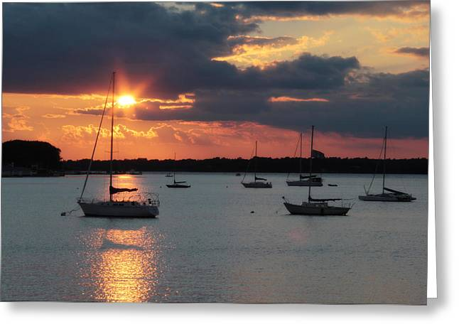 Clayton Greeting Cards - French Creek Bay Sunset Greeting Card by Lori Deiter
