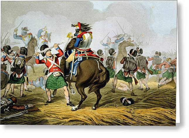 Bayonet Greeting Cards - French Cuirassiers At The Battle Greeting Card by John Augustus Atkinson
