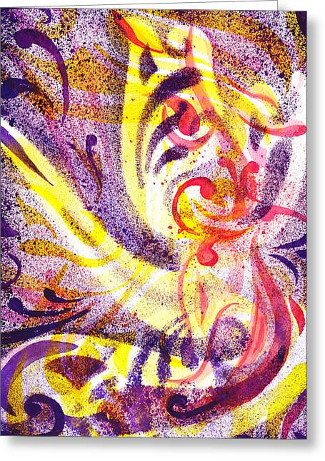 Yellow Line Greeting Cards - French Curve Abstract Movement III Greeting Card by Irina Sztukowski