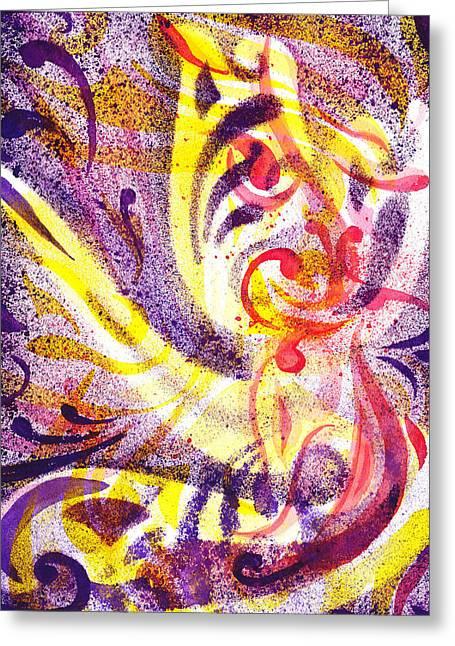 Yupo Greeting Cards - French Curve Abstract Movement III Greeting Card by Irina Sztukowski