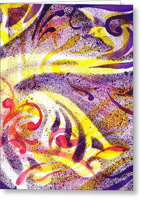 Yellow Line Greeting Cards - French Curve Abstract Movement IV Greeting Card by Irina Sztukowski