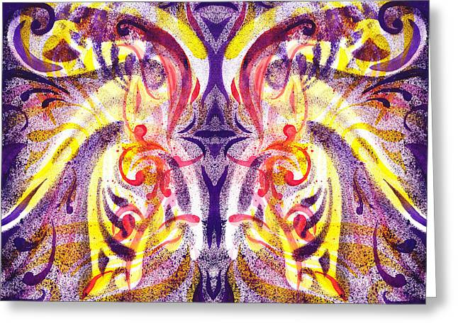 Yellow Line Greeting Cards - French Curve Abstract Movement V Magic Butterfly  Greeting Card by Irina Sztukowski