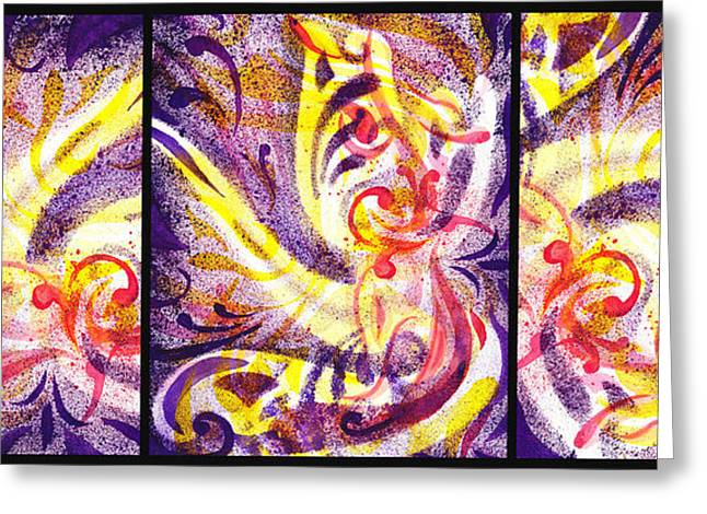 Yellow Line Greeting Cards - French Curve Abstract Movement VII Happy Trio Greeting Card by Irina Sztukowski