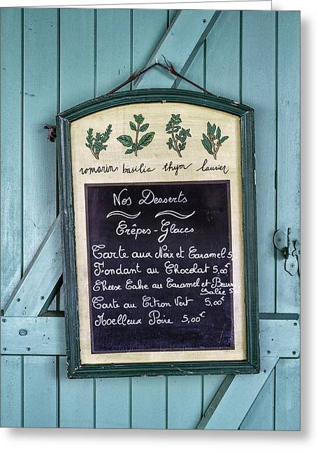 French Door Greeting Cards - French Dessert Menu on Door Greeting Card by Nomad Art And  Design