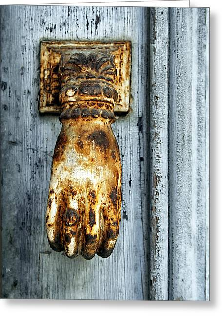 French Door Knocker Greeting Card by Georgia Fowler