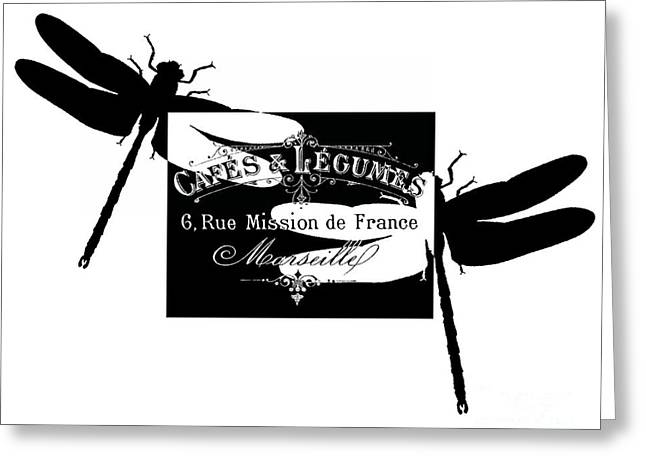 Typographic Greeting Cards - French Dragonflies 2 Greeting Card by Marion De Lauzun
