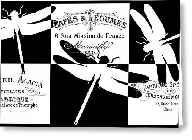 Typography Greeting Cards - French Dragonflies 3 Greeting Card by Marion De Lauzun