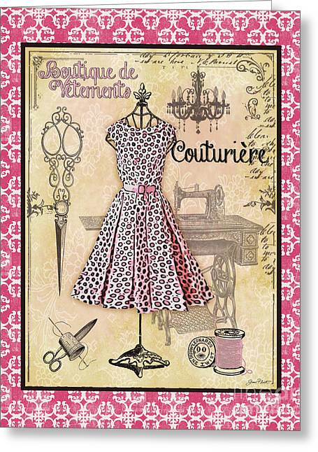No Clothing Greeting Cards - French Dress Shop-A1 Greeting Card by Jean Plout