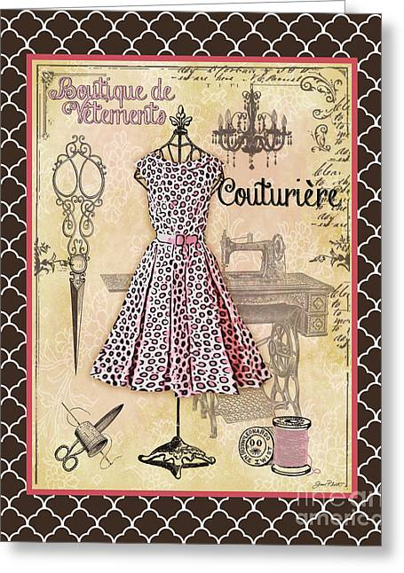 Boutique Art Greeting Cards - French Dress Shop-A2 Greeting Card by Jean Plout