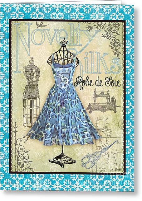 Boutique Art Greeting Cards - French Dress Shop-B1 Greeting Card by Jean Plout